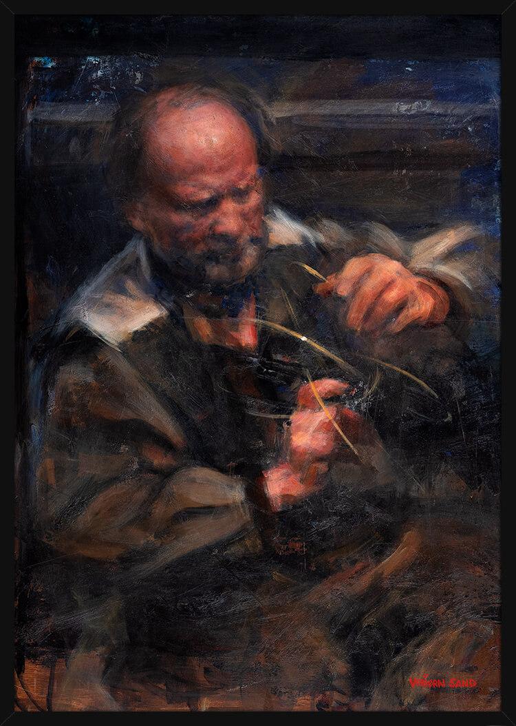 Portrett av en matematiker, av kunstner Vebjørn Sand. Poster i en svart ramme.