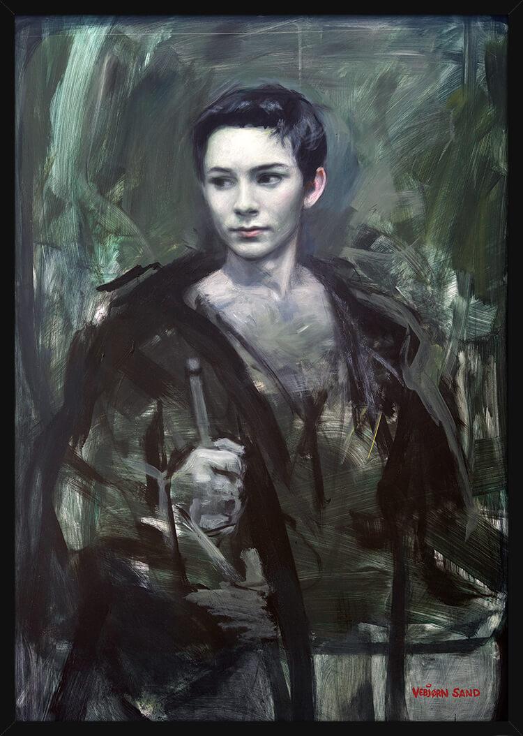 Portrett av en ung soldat, av kunstner Vebjørn Sand. Poster i en svart ramme.