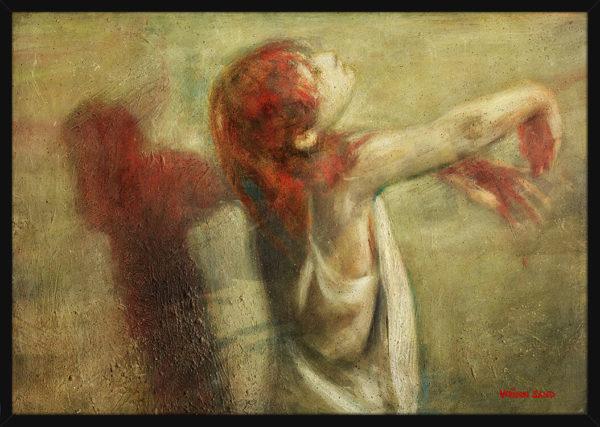 En ballettdanser med rødt hår, av kunstner Vebjørn Sand. Poster i en svart ramme.