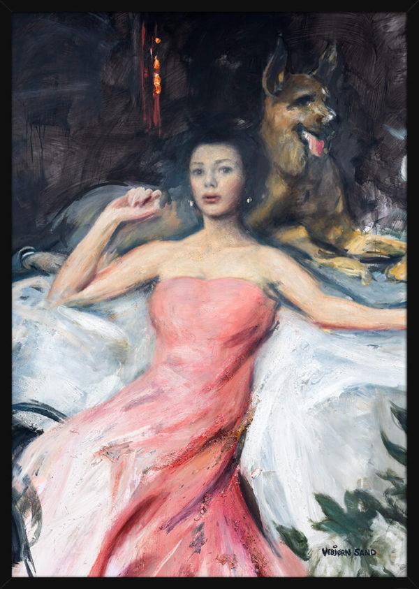 Portrett av Sonja Wigert i rosa kjole med gjeterhund, av kunstner Vebjørn Sand. Poster i en svart ramme.