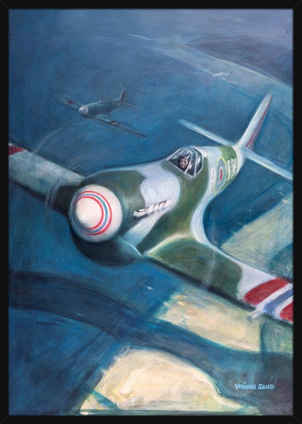 Et jagerfly over Normandie på D-dagen 6. juni 1944, av kunstner Vebjørn Sand. Poster i en svart ramme.