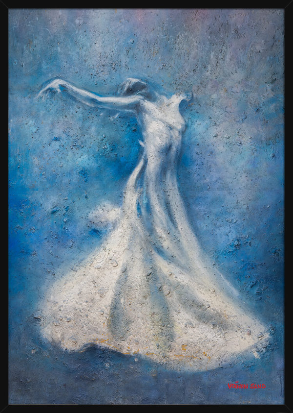 En svevende ballettdanser over blå bakgrunn, av kunstner Vebjørn Sand. Poster i en svart ramme.