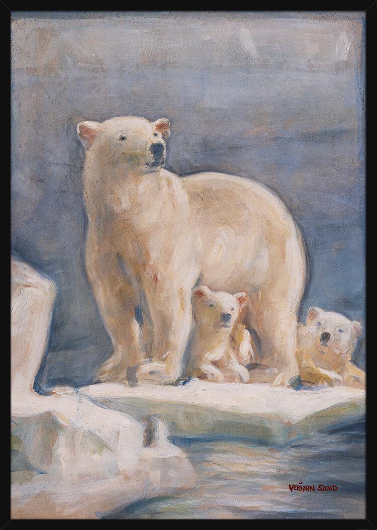 En isbjørnfamilie i Arktis, av kunstner Vebjørn Sand. Poster i en svart ramme.