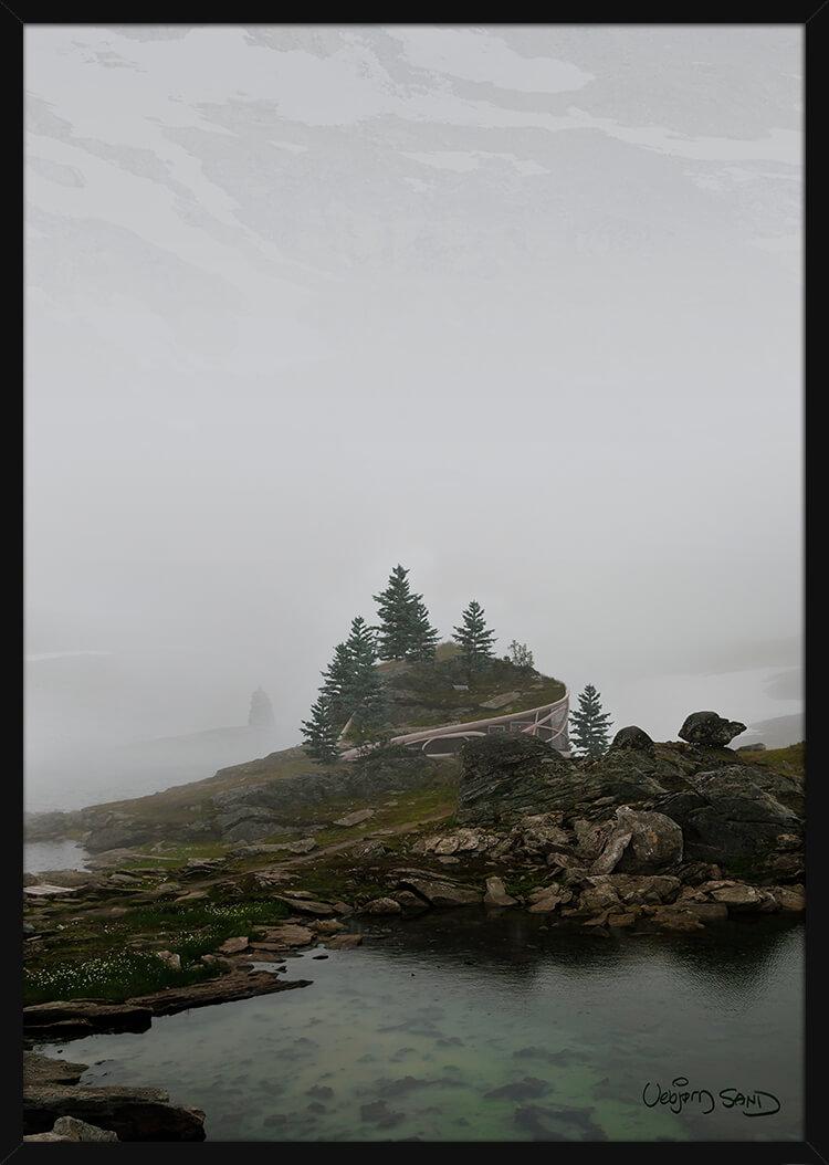 Hjertehytte i tåkete fjellandskap. Poster i en svart ramme.
