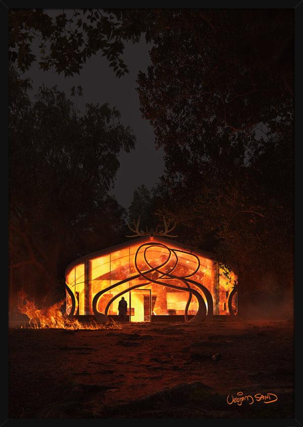 En glødende Hjertehytte om natten. Poster i en svart ramme.