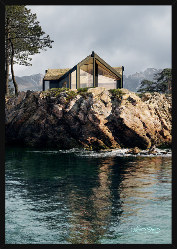 Arnesteinenhytte ved kysten. Poster i en svart ramme.