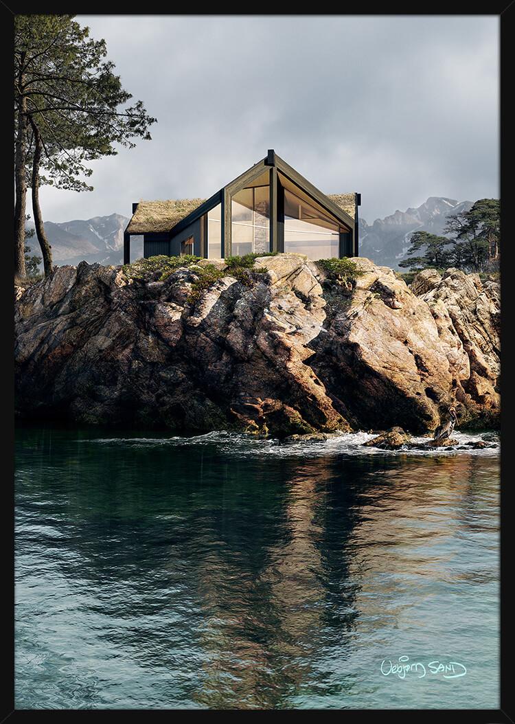 Arnestenen House on a rocky coast. Art print in a black frame.