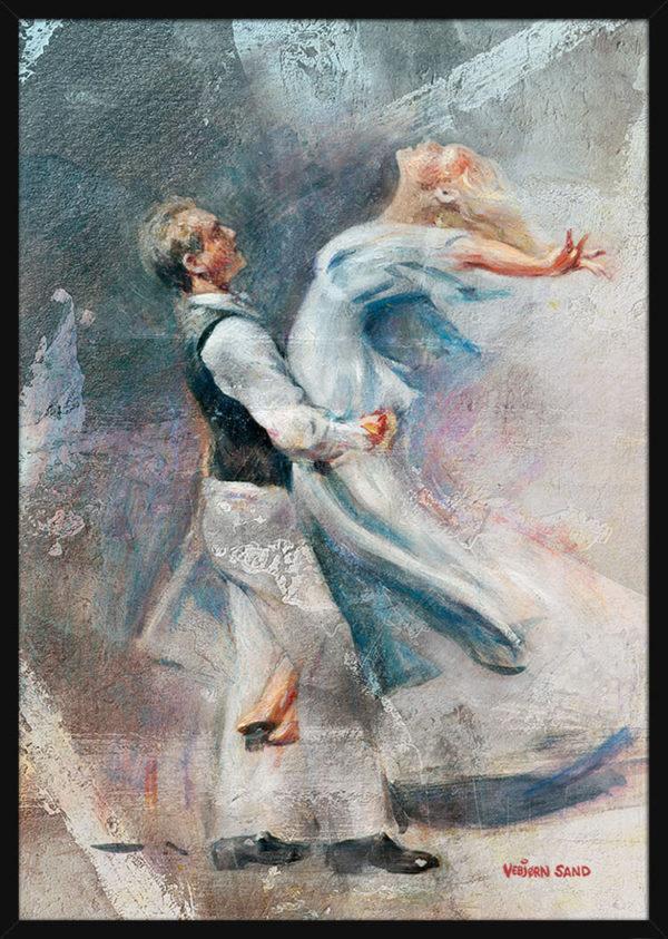To dansere, av kunstner Vebjørn Sand. Poster i en svart ramme.