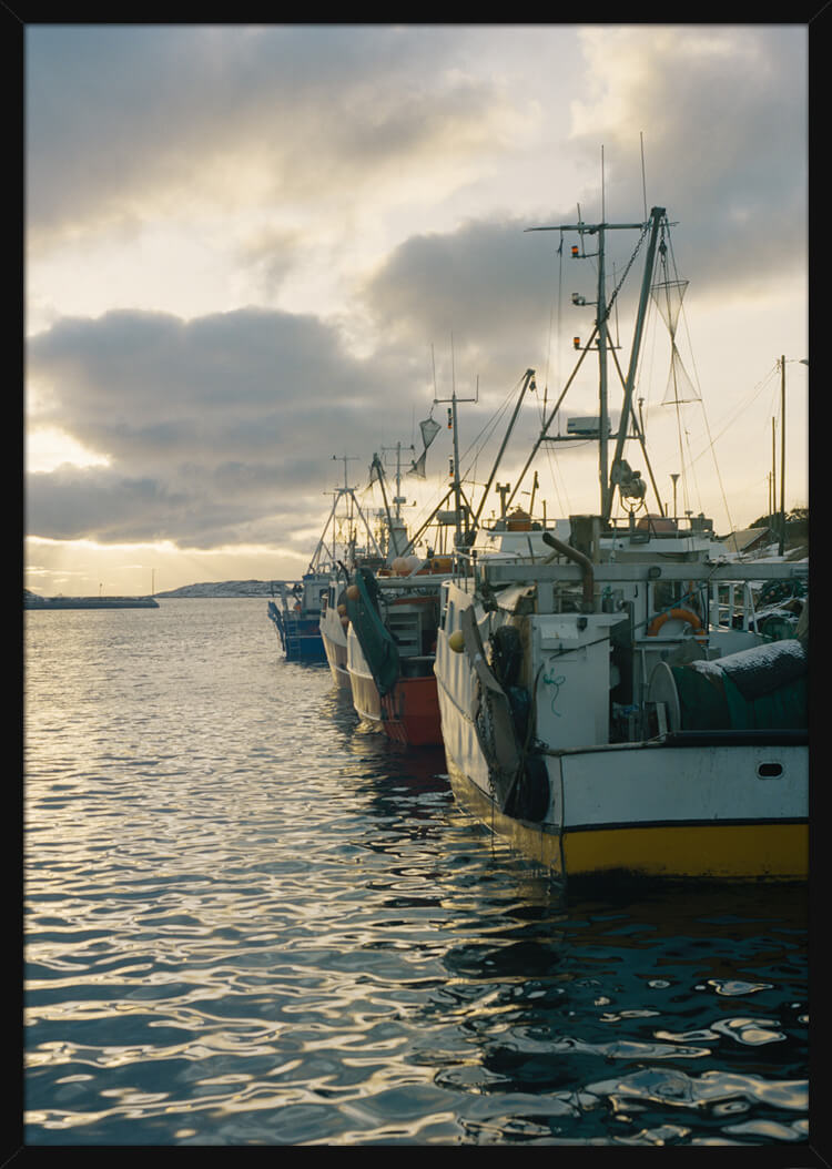 Fishing boats in harbour at dawn, photographed by Haakon Sand. Art print in a black frame.