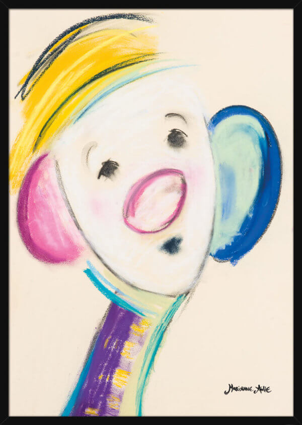 Portrait of an Optimist with a yellow hat, pastel drawing by Marianne Aulie. Art print in a black frame.