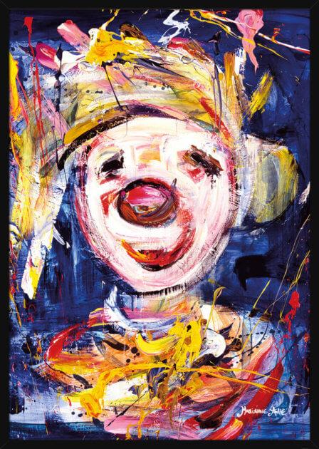 Optimist med blå farger, av kunstner Marianne Aulie. Poster i en hvit ramme.