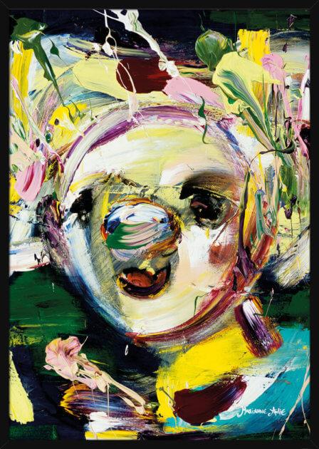 Optimist i rosa og grønne farger, av kunstner Marianne Aulie. Poster i en hvit ramme.