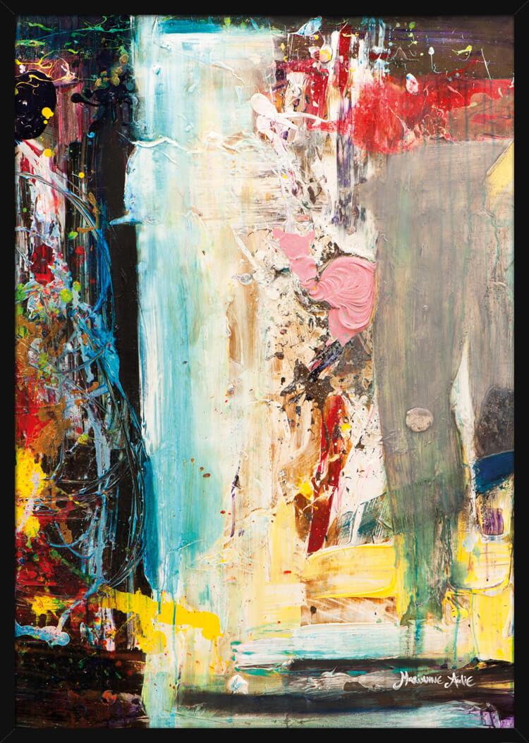 Abstrakt maleri med lyse farger, av kunstner Marianne Aulie. Poster i en hvit ramme.