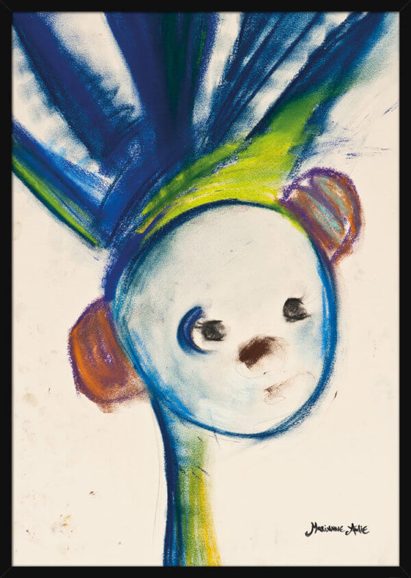 Portrait of an Optimist with a blue crown, drawn with pastel colors by Marianne Aulie. Art print in a black frame.