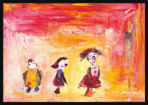 Three cute Optimists on a red and yellow background painted by Marianne Aulie. Art print in a black frame.