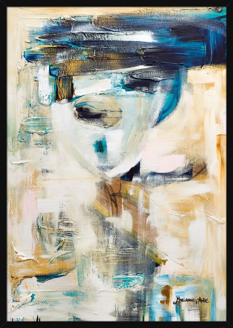 Optimist med en blå hatt, av kunstner Marianne Aulie. Poster i en hvit ramme.