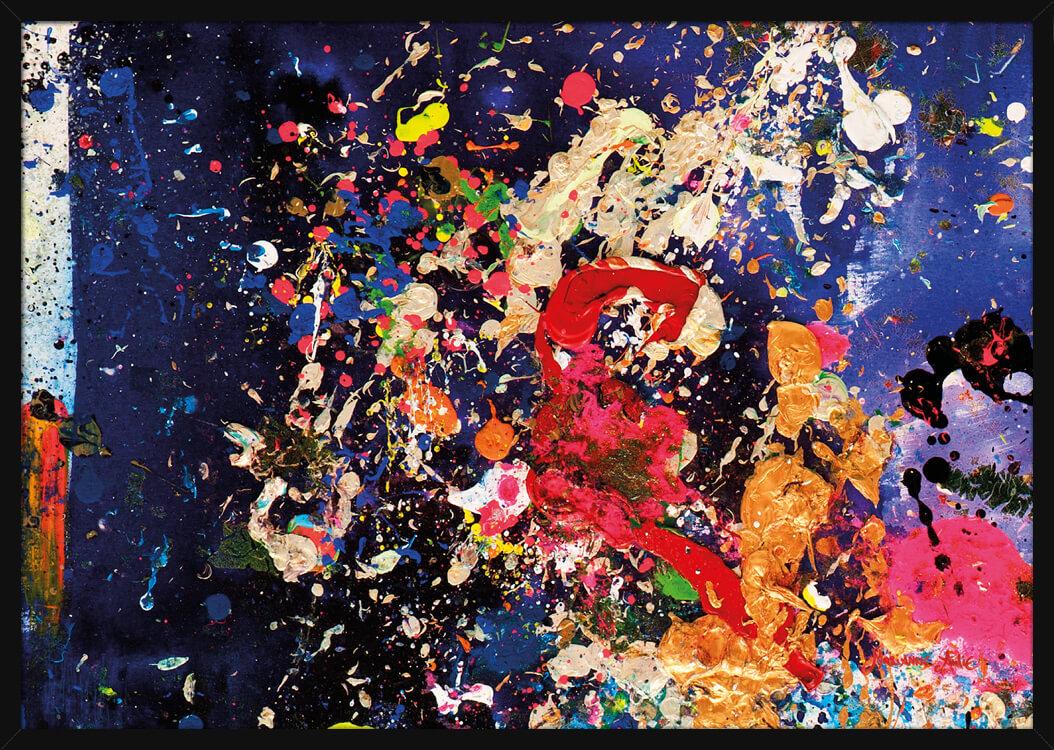 Abstrakt maling og blå farger, av kunstner Marianne Aulie. Poster i en hvit ramme.