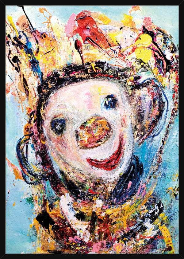 Portrait of a smiling Optimist wearing a colorful crown, painted by Marianne Aulie. Art print in a black frame.