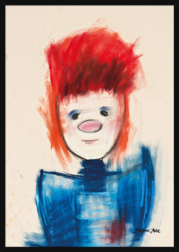 Portrait of an Optimist with red hair and a blue top, a pastel drawing by Marianne Aulie. Art print in a black frame.