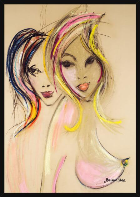 To kvinner i lyse pastellfarger, av kunstner Marianne Aulie. Poster i en hvit ramme.