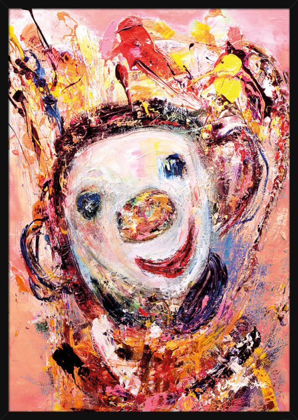 A smiling Optimist painted with warm colors by Marianne Aulie. Art print in a black frame.