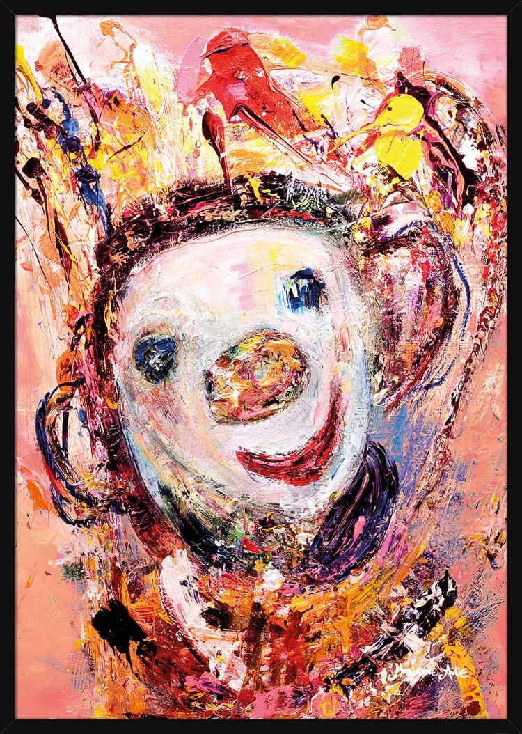 Optimist med rosa farger, av kunstner Marianne Aulie. Poster i en hvit ramme.