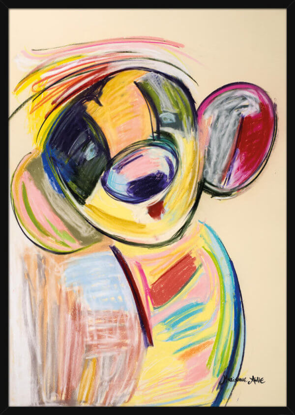 Portrait of an Optimist using bright pastel colors, by Marianne Aulie. Art print in a black frame.