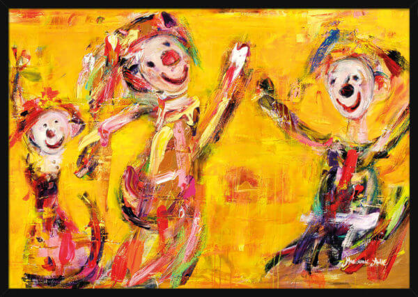 Three dancing Optimists painted with warm colors by Marianne Aulie. Art print in a black frame.