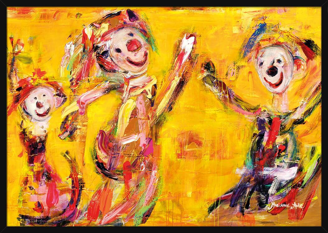 Optimist familien i gyldne farger, av kunstner Marianne Aulie. Poster i en hvit ramme.