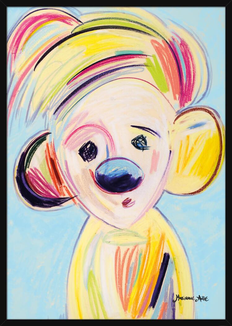 Optimist med lyse pastellfarger, av kunstner Marianne Aulie. Poster i en svart ramme.
