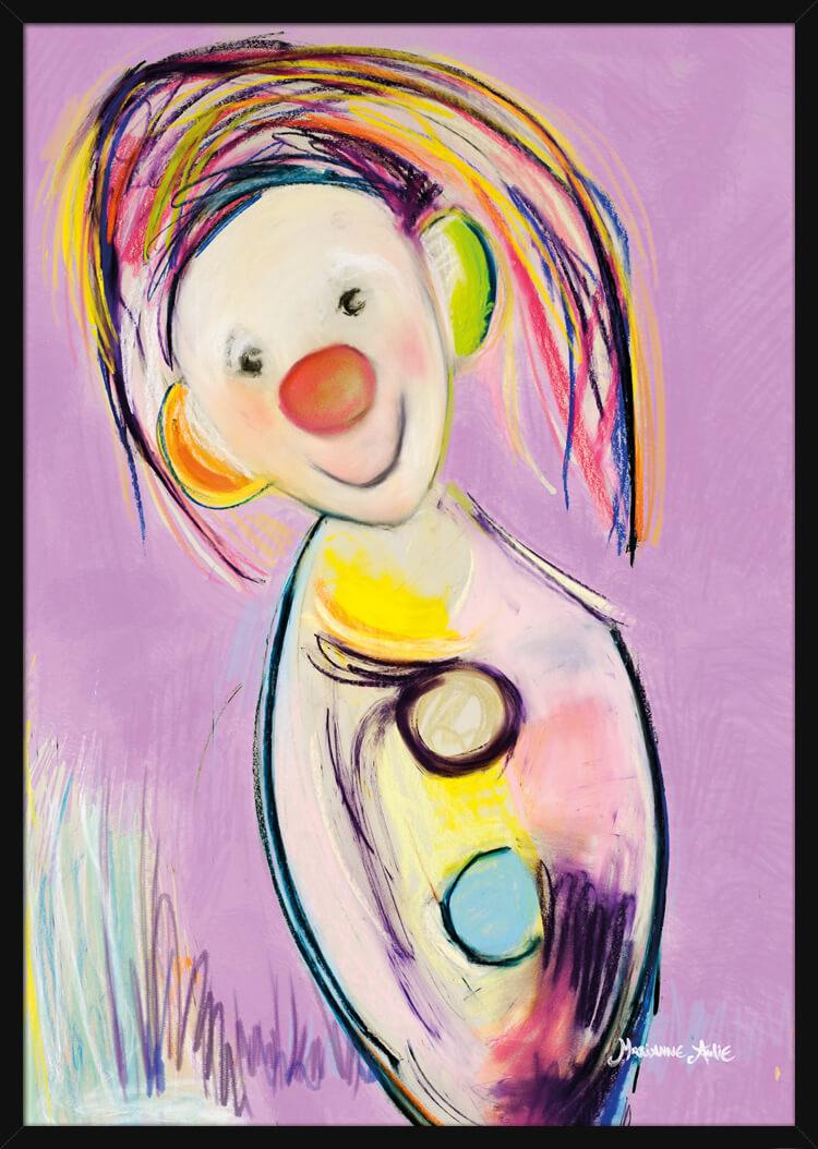 Optimist med rike pastellfarger, av kunstner Marianne Aulie. Poster i en hvit ramme.