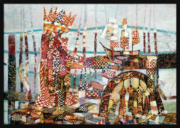 Abstrakt landskap med de tre vise mennene, stående ved en ortodoks kirke og seilskute, av kunstner Øivind Sand. Poster i en svart ramme.