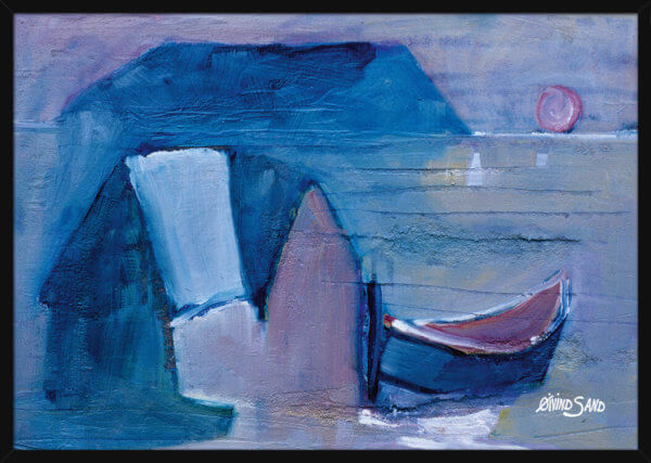A seascape with a sea hut and a boat as the sunsets on the horizon, painted by Oivind Sand. Art print in a black frame.