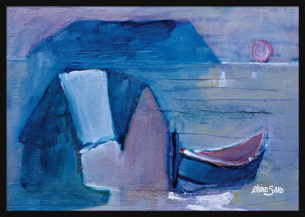 Båt og sjøhus under solnedgang, av kunstner Øivind Sand. Poster i en svart ramme.