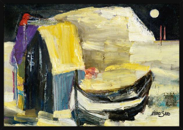 Sjøhus og båt på et gyldent hav om natten, av kunstner Øivind Sand. Poster i en gullramme.
