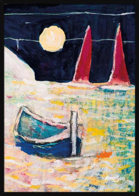 Pastellfarger på havet, en båt med to seil i måneskinns, av kunstneren Øivind Sand. Poster i en svart ramme.