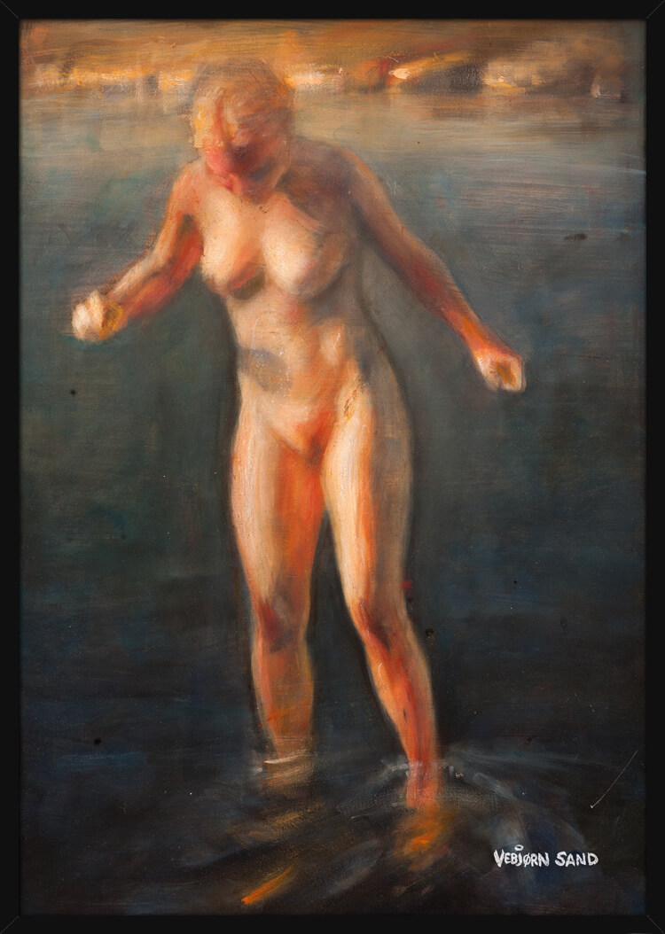 A nude figure study of a woman standing in the ocean, painted by Vebjørn Sand. Art print in a black frame.