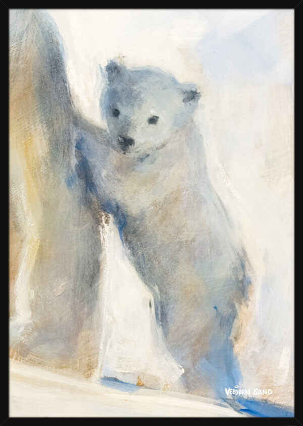 A cute polar bear cub stands on its hind legs, painted by Vebjorn Sand. Art print in a black frame.