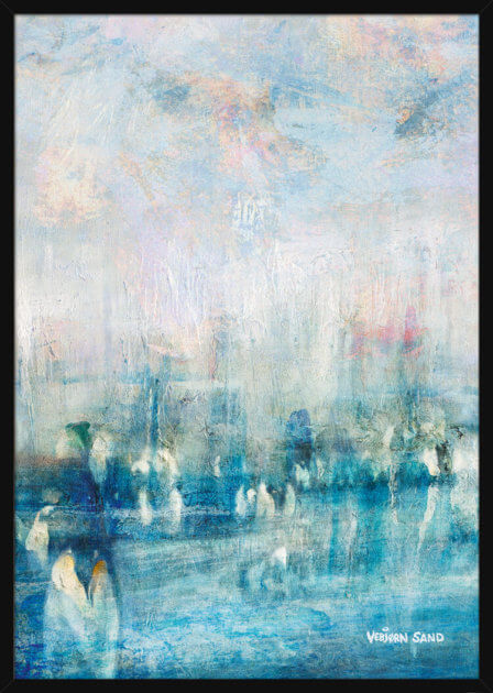 An abstract Antarctic landscape with penguins, painted by Vebjørn Sand. Art print in a black frame.