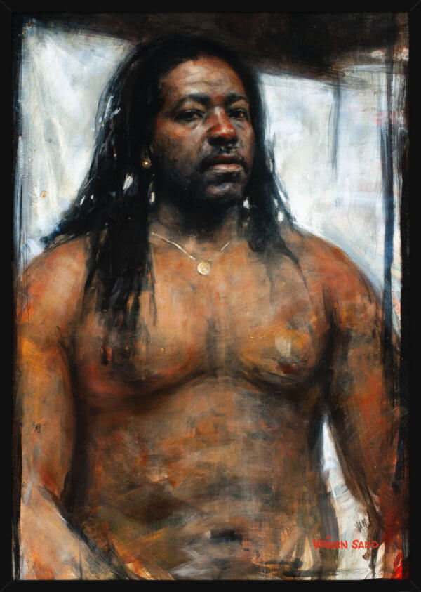 A strong man looks at the viewer, portrait painting by Vebjorn Sand. Art print in a black frame.
