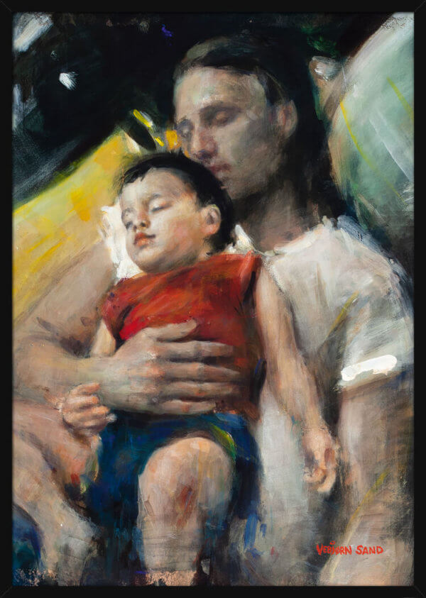A child leans on a man as they appear to be asleep, a portrait painted by Vebjorn Sand. Art print in a black frame.