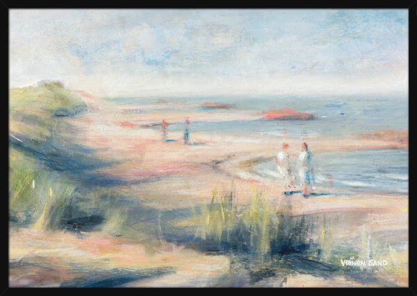 People walk along a beach on a sunny summer day, painted by Vebjorn Sand. Art print in a black frame.