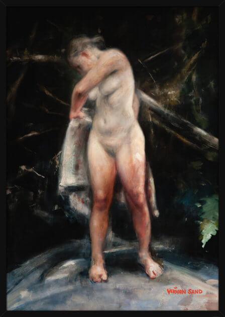 Portrett av en naken kvinne og studie av lys, av kunstner Vebjørn Sand. Poster i en hvit ramme.