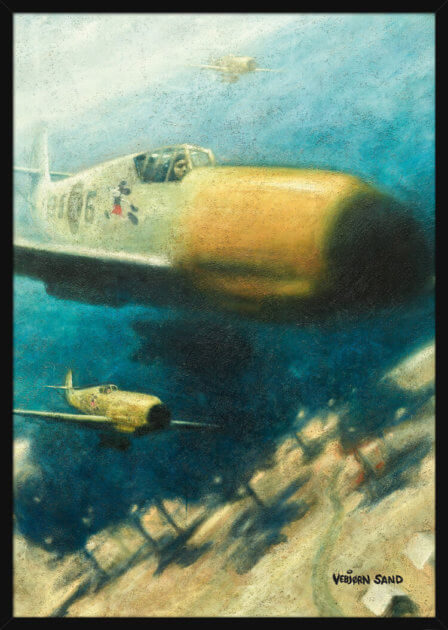 An aerial battle and decorative symbols used on military aircraft in WWII, painted by Vebjørn Sand. Art print in a black frame.