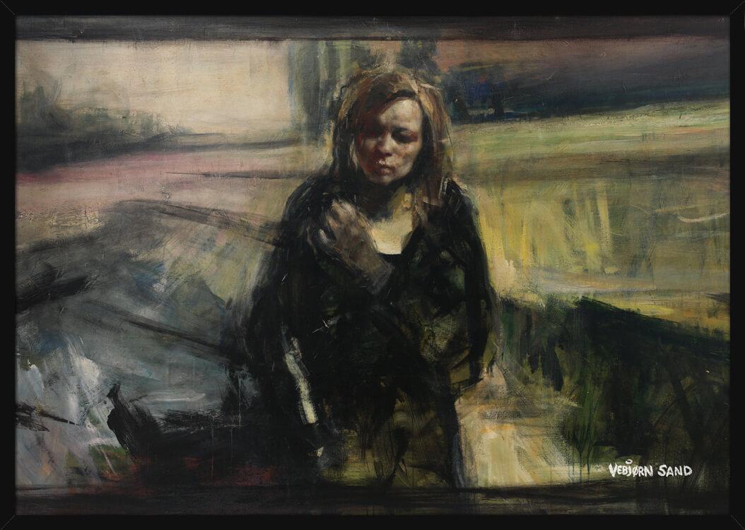 Portrett av en kvinne på en vei under andre verdenskrig, av kunstner Vebjørn Sand. Poster i en svart ramme.