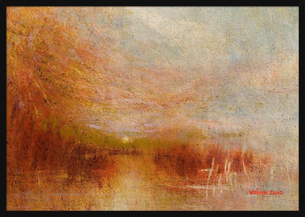 Glødende rød og oransje solnedgang, av kunstner Vebjørn Sand. Poster i en hvit ramme.