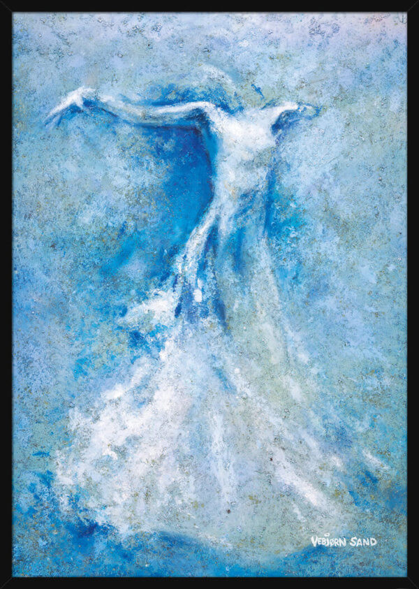 A floating ballerina in a dress, painted using light blue colors by Vebjorn Sand. Art print in a black frame.