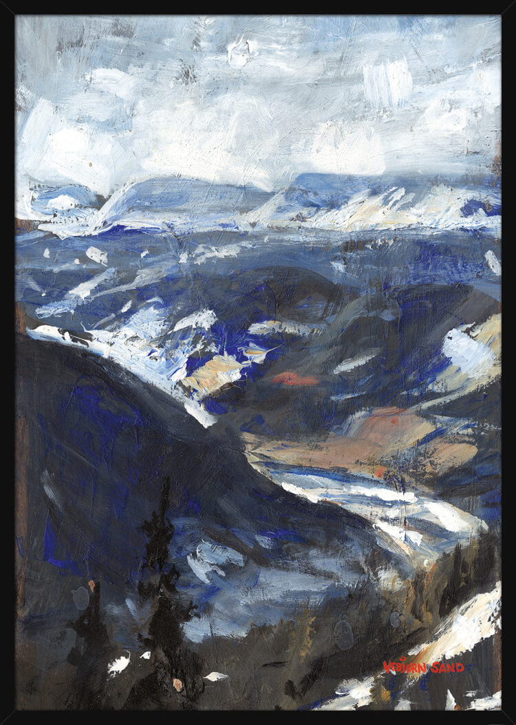 A river runs through a mountainous landscape during winter, painted by Vebjorn Sand. Art print in a black frame.