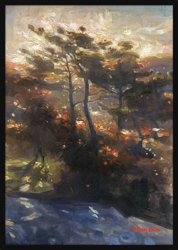 Sunlight shines through green trees at dawn, painted by Vebjorn Sand. Art print in a black frame.