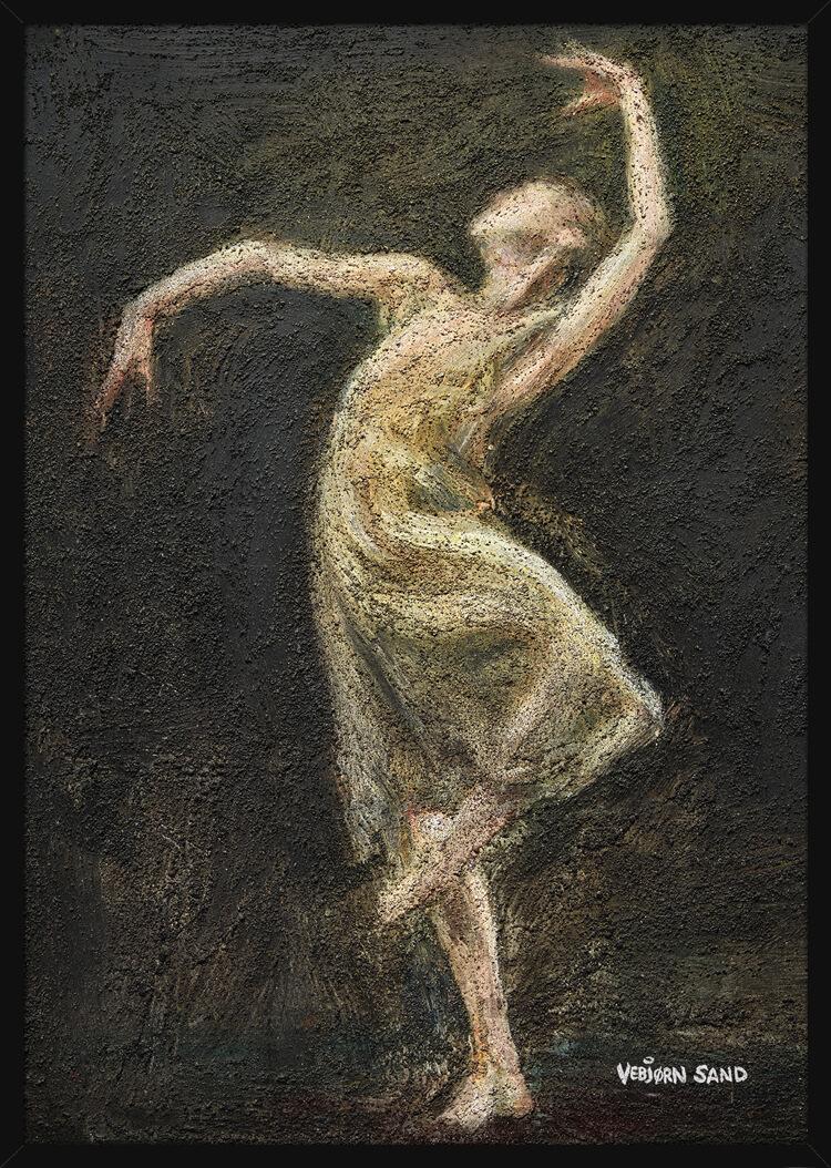 En ballettdanser kledd i hvitt på svart bakgrunn, av kunstner Vebjørn Sand. Poster i en svart ramme.